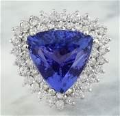 12.72 Carat Tanzanite 18K White Gold Diamond Ring