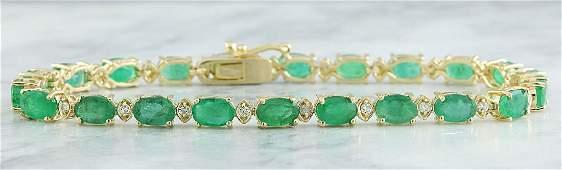 11.20 Carat Emerald 18K Yellow Gold Diamond Bracelet