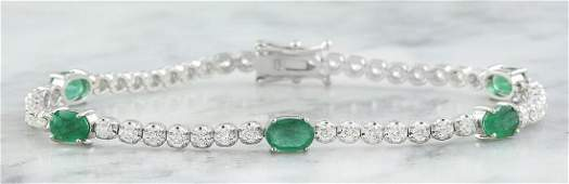4.03 Carat Emerald 18K White Gold Diamond Bracelet