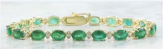 15.29 Carat Emerald 18K Yellow Gold Diamond Bracelet