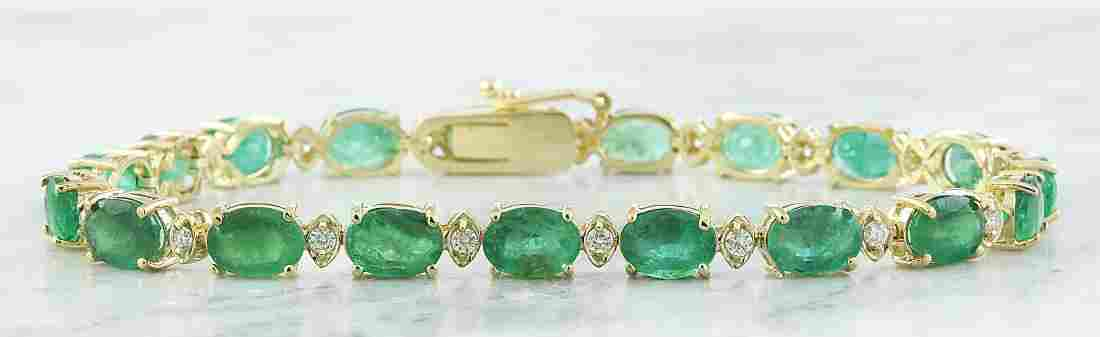 15.29 Carat Emerald 18K Yellow Gold Diamond Bracelet