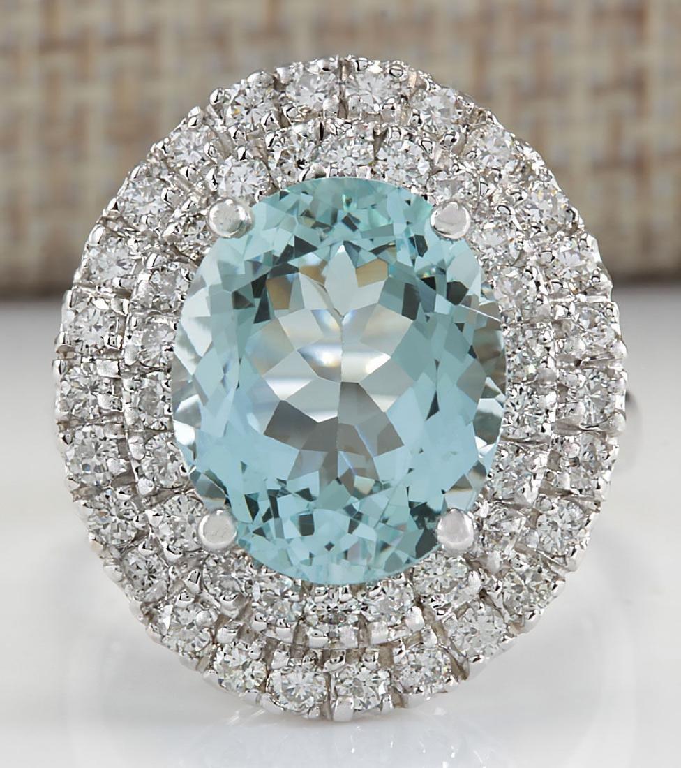 7.44 Carat Natural Blue Aquamarine Diamond Ring 18K
