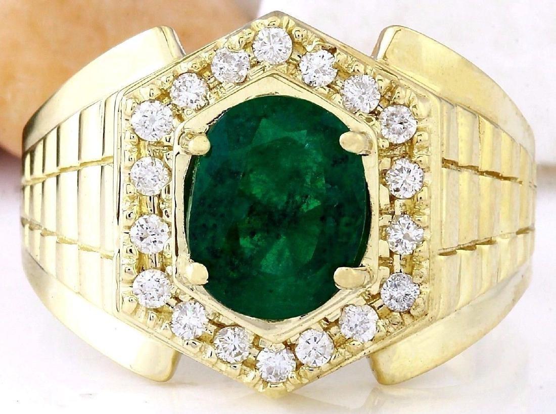 3.45 Carat Natural Emerald 18K Solid Yellow Gold