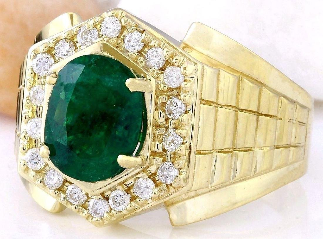 3.45 Carat Natural Emerald 18K Solid Yellow Gold - 2