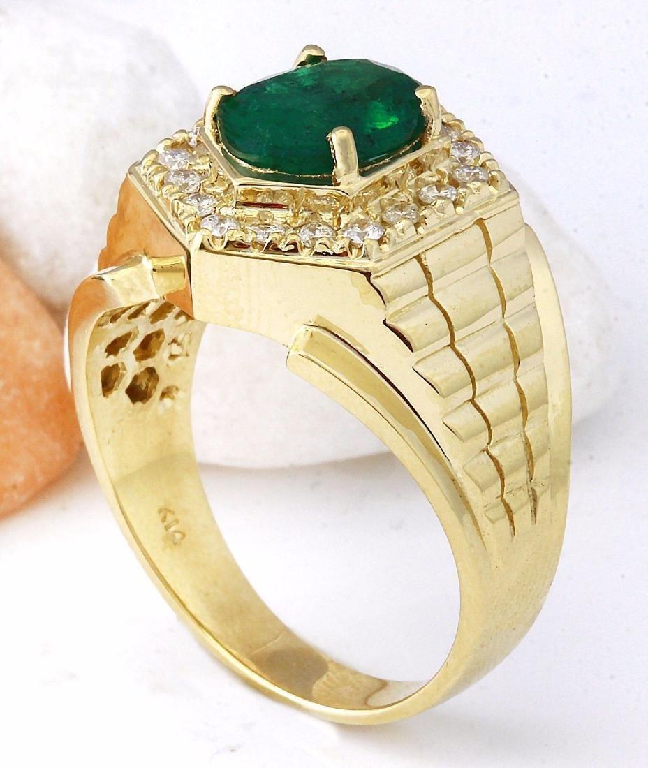 3.45 Carat Natural Emerald 18K Solid Yellow Gold - 4