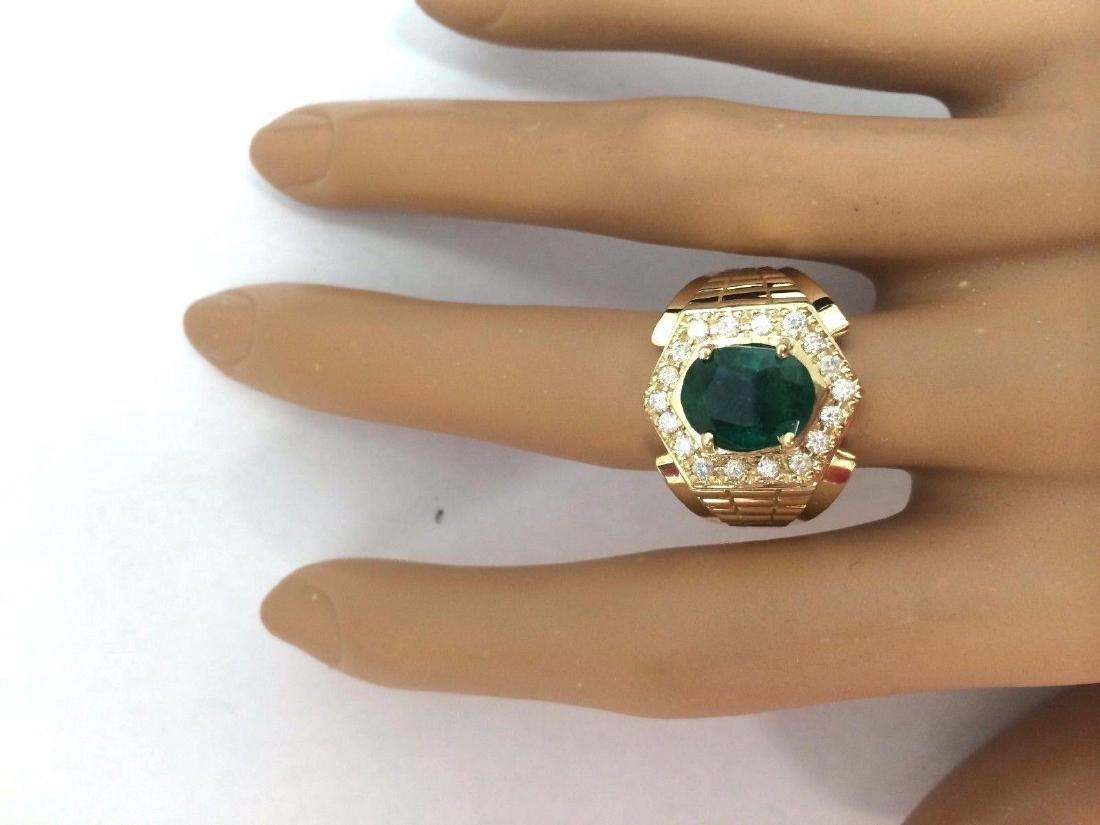 3.45 Carat Natural Emerald 18K Solid Yellow Gold - 5