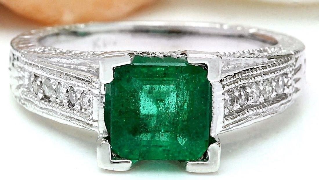 1.96 Carat Natural Emerald 18K Solid White Gold Diamond
