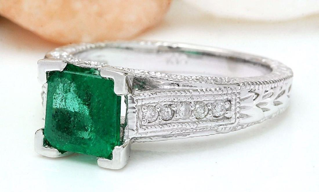1.96 Carat Natural Emerald 18K Solid White Gold Diamond - 2