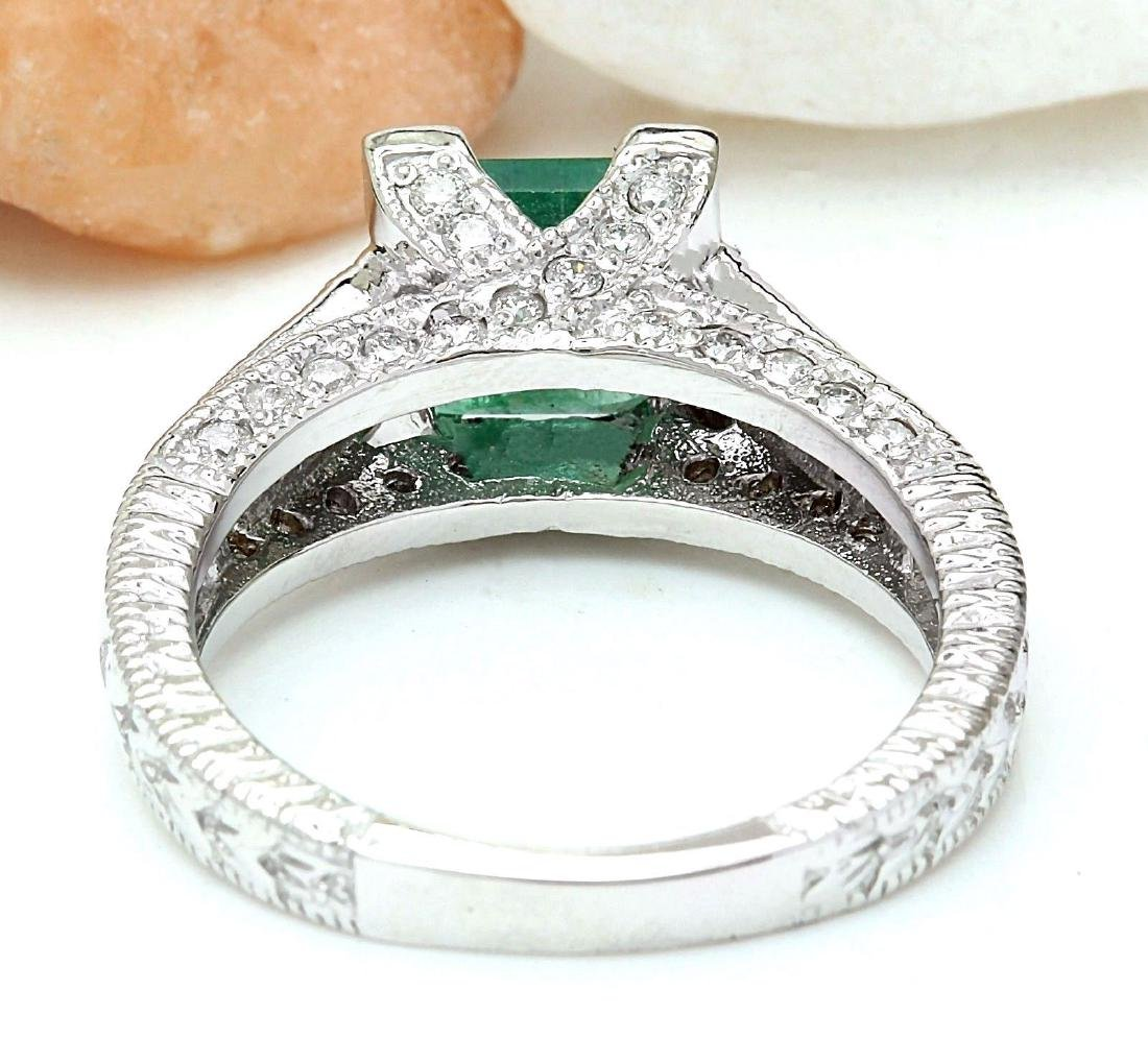 1.96 Carat Natural Emerald 18K Solid White Gold Diamond - 3