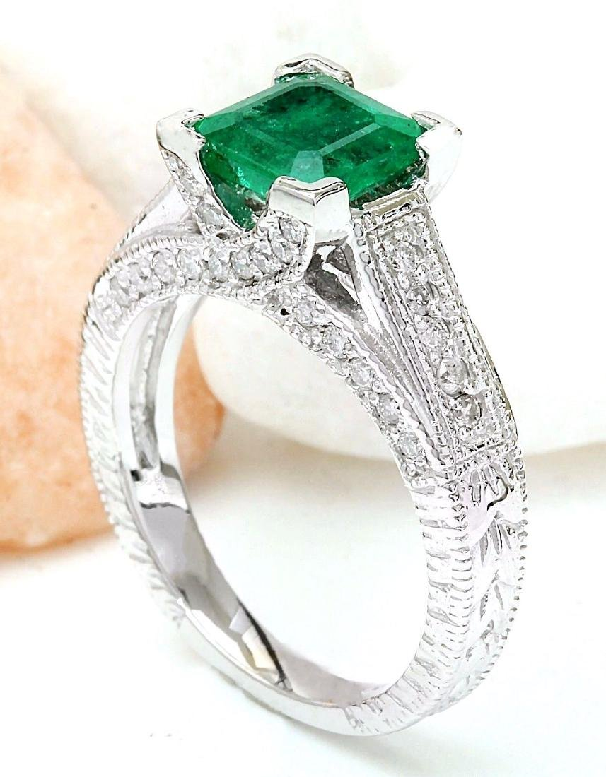 1.96 Carat Natural Emerald 18K Solid White Gold Diamond - 4