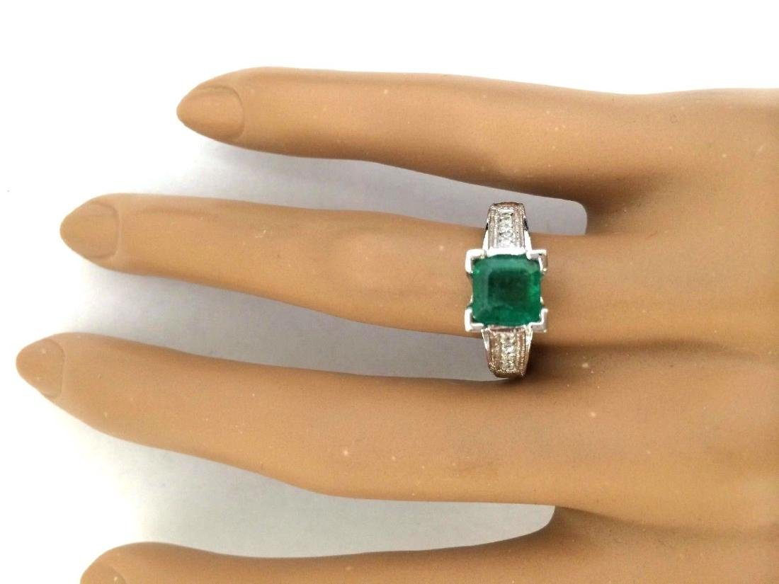 1.96 Carat Natural Emerald 18K Solid White Gold Diamond - 5