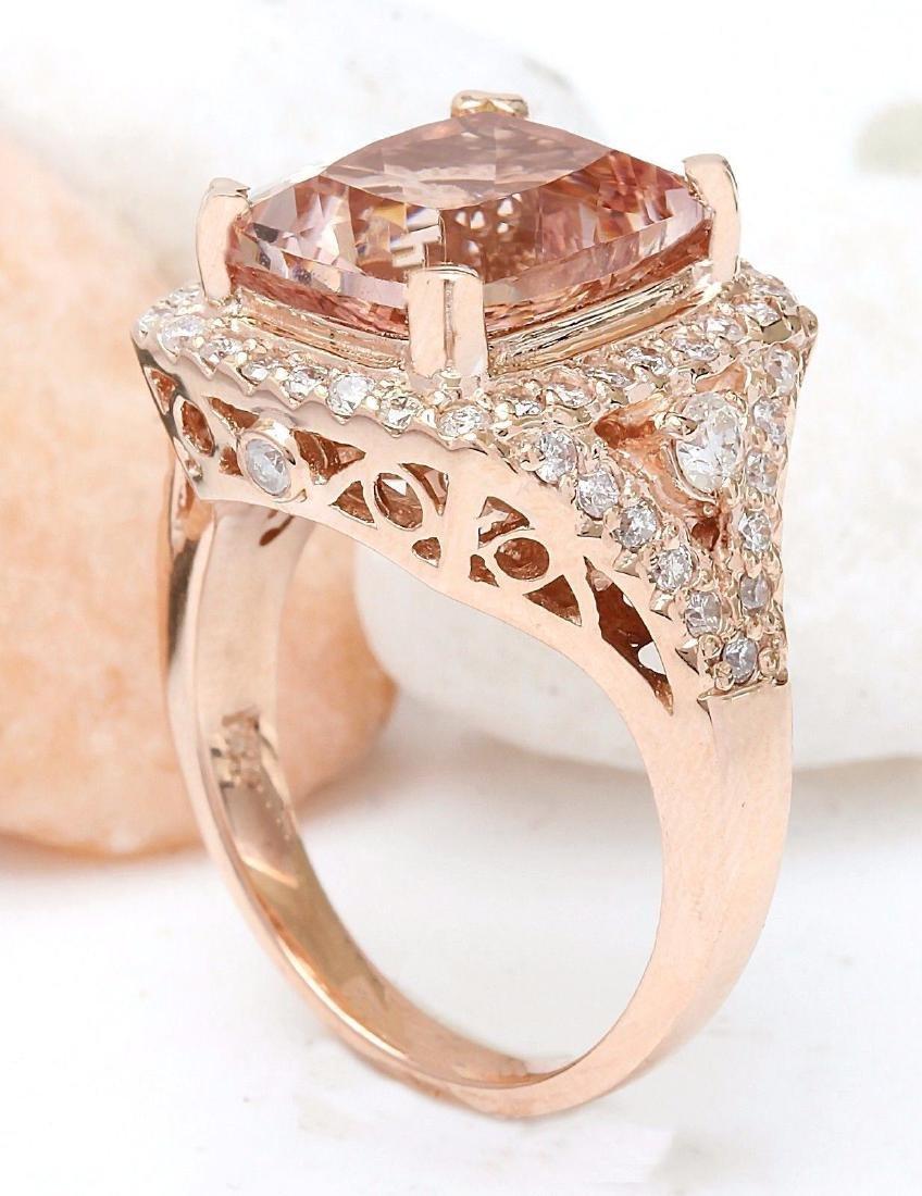 6.34 Carat Natural Morganite 18K Solid Rose Gold - 4