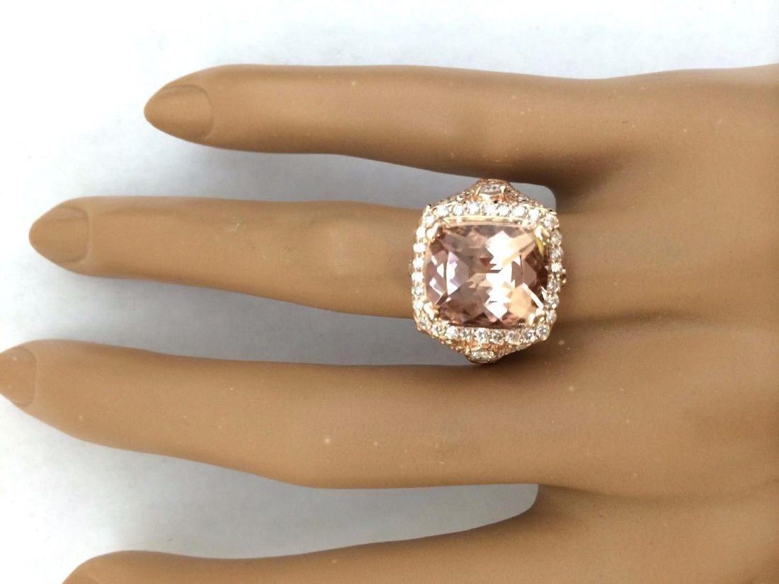 6.34 Carat Natural Morganite 18K Solid Rose Gold - 5