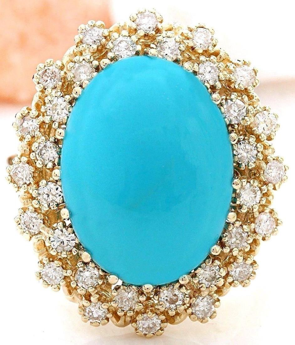 9.60 Carat Natural Turquoise 18K Solid Yellow Gold