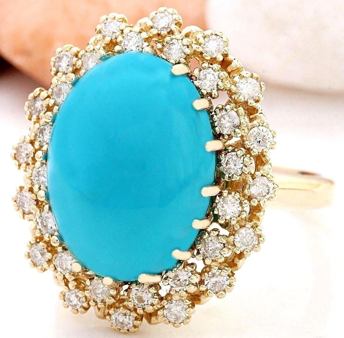9.60 Carat Natural Turquoise 18K Solid Yellow Gold - 2