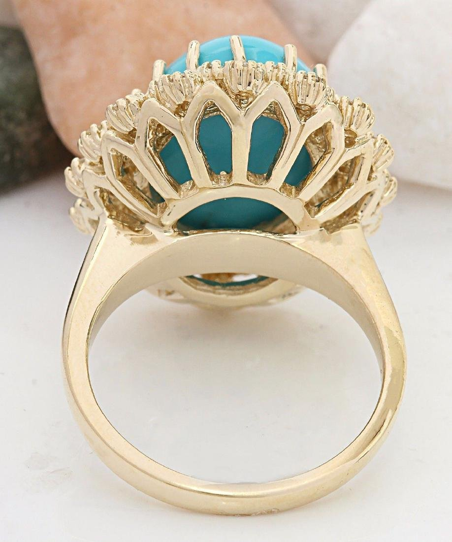 9.60 Carat Natural Turquoise 18K Solid Yellow Gold - 3