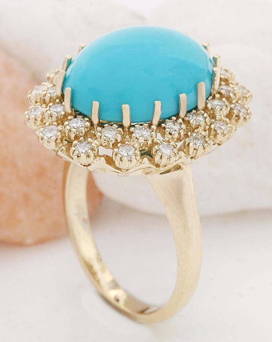 9.60 Carat Natural Turquoise 18K Solid Yellow Gold - 4