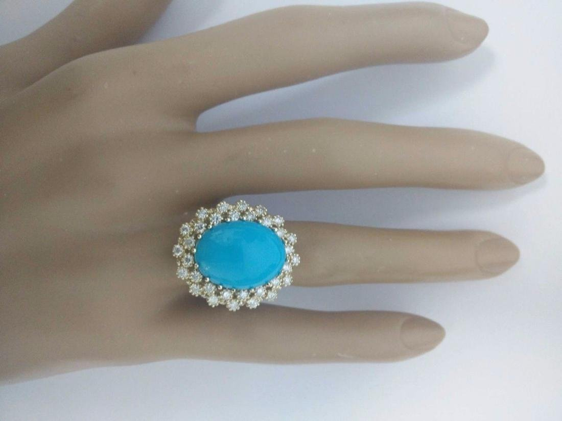 9.60 Carat Natural Turquoise 18K Solid Yellow Gold - 5