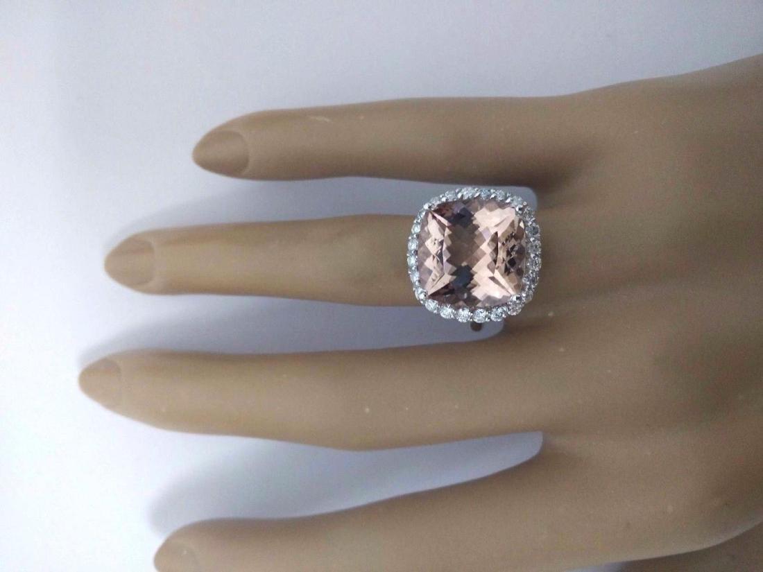 9.86 Carat Natural Morganite 18K Solid White Gold - 5
