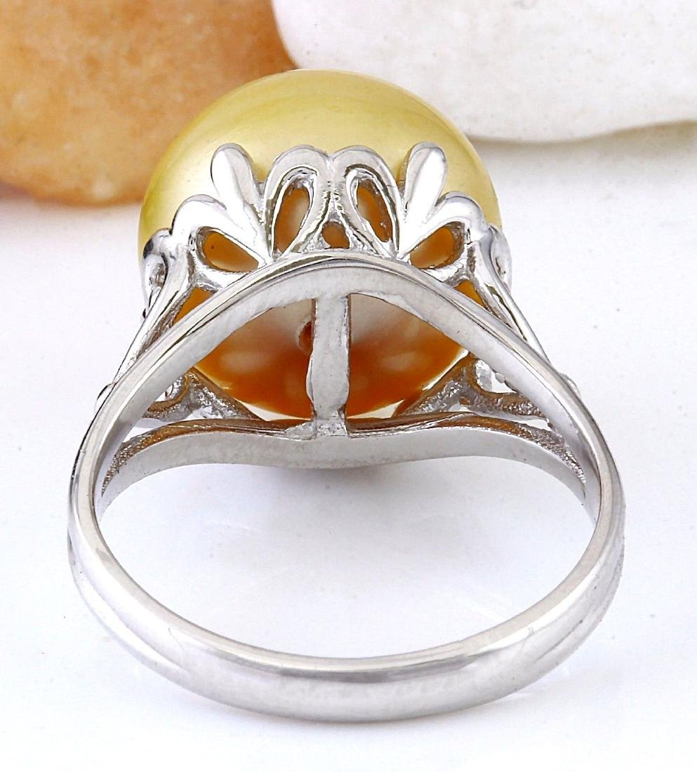 12.90 mm Gold South Sea Pearl 18K Solid White Gold Ring - 3
