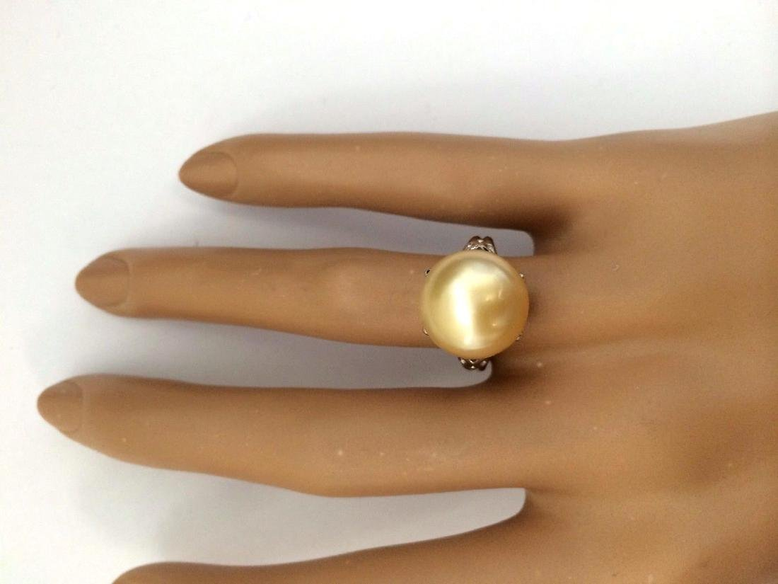 12.90 mm Gold South Sea Pearl 18K Solid White Gold Ring - 5