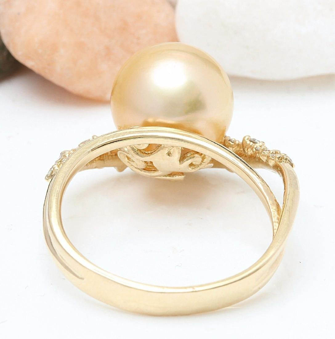 3.48 mm Gold South Sea Pearl 18K Solid Yellow Gold - 3