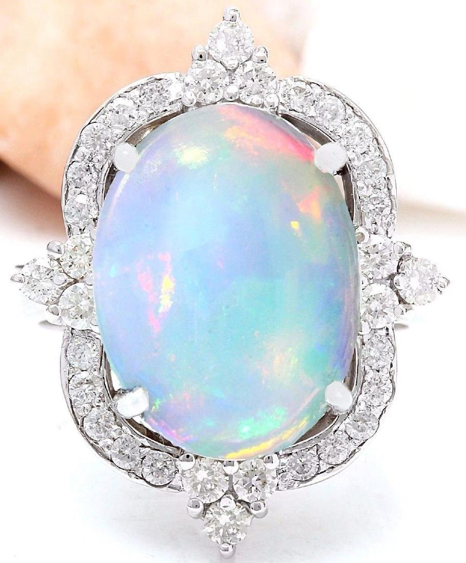 6.26 Carat Natural Opal 18K Solid White Gold Diamond