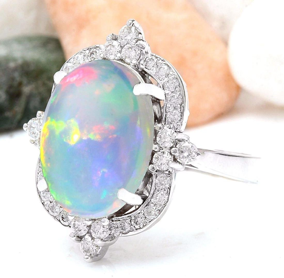 6.26 Carat Natural Opal 18K Solid White Gold Diamond - 2