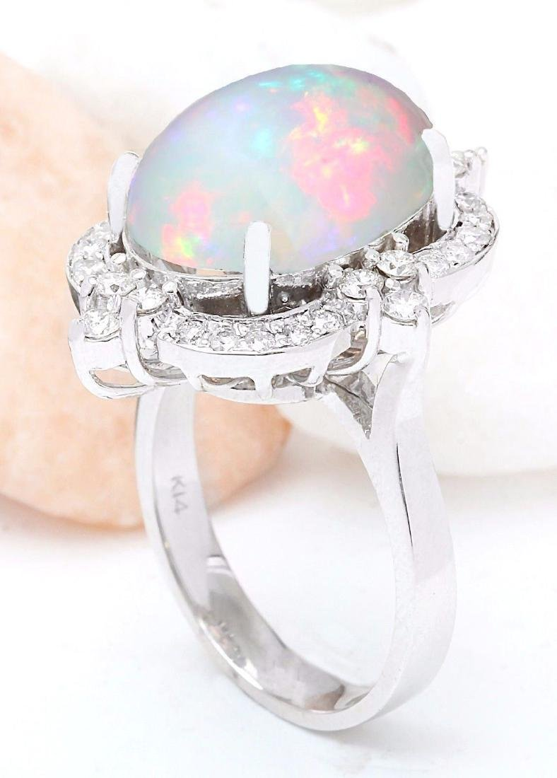 6.26 Carat Natural Opal 18K Solid White Gold Diamond - 4