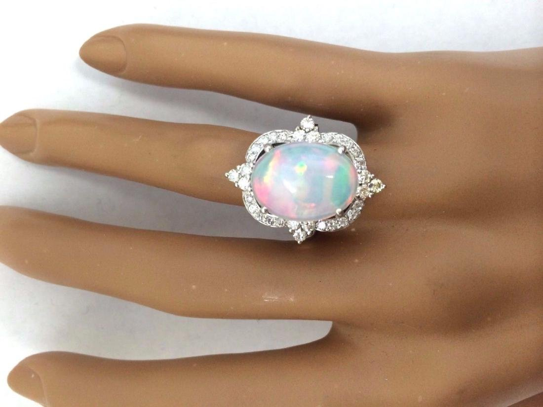6.26 Carat Natural Opal 18K Solid White Gold Diamond - 5