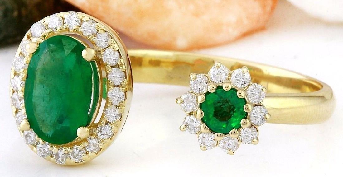 1.20 Carat Natural Emerald 18K Solid Yellow Gold