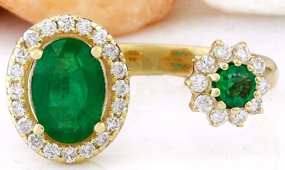 1.20 Carat Natural Emerald 18K Solid Yellow Gold - 2