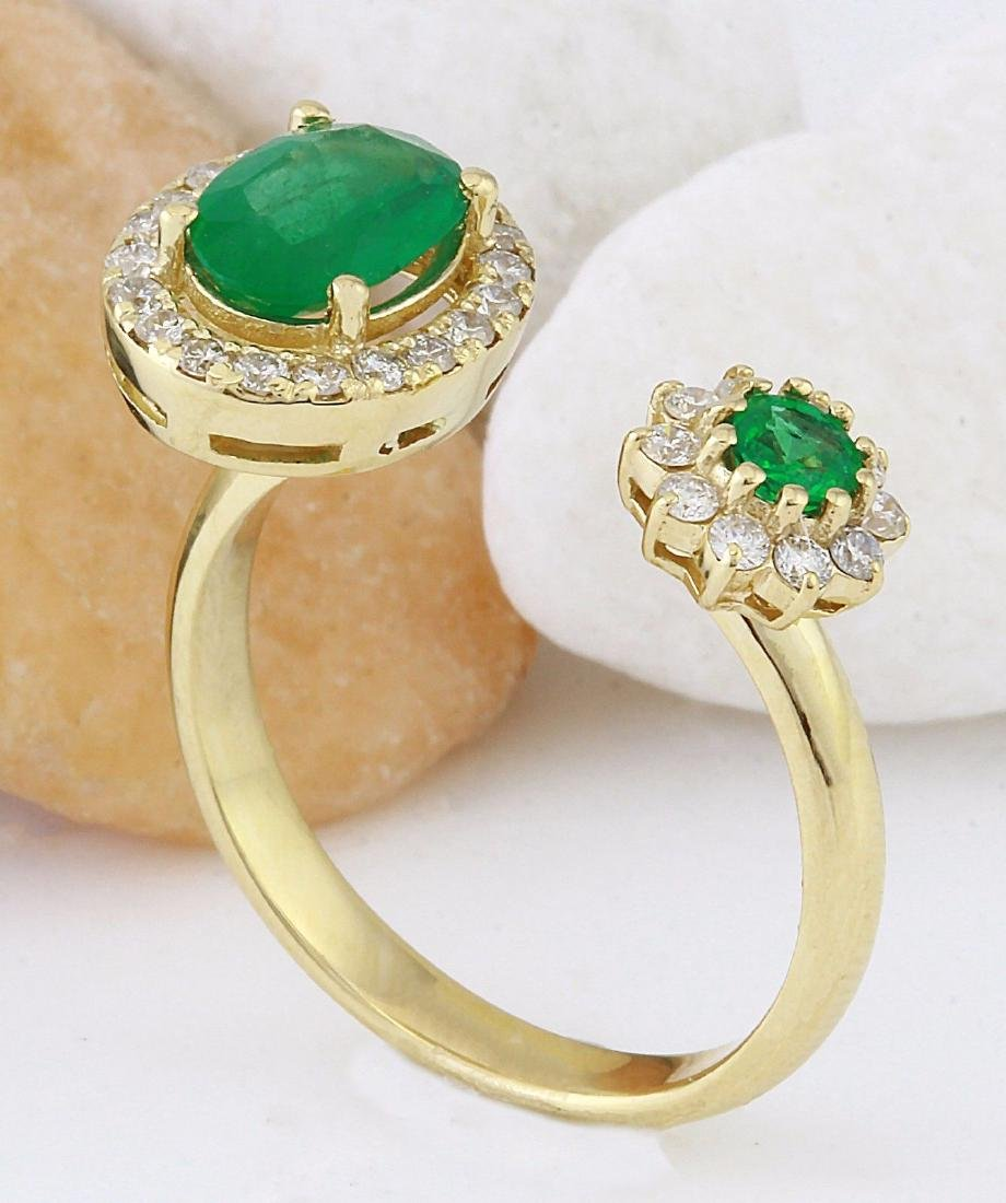 1.20 Carat Natural Emerald 18K Solid Yellow Gold - 4