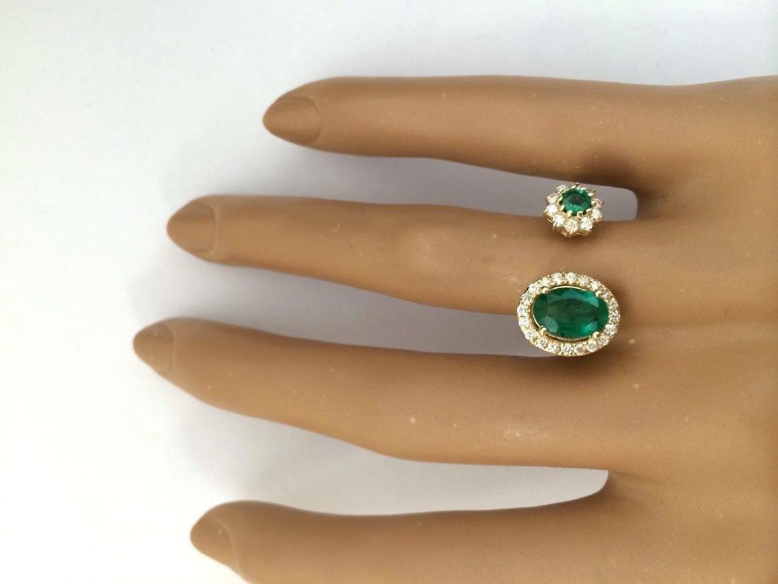 1.20 Carat Natural Emerald 18K Solid Yellow Gold - 5
