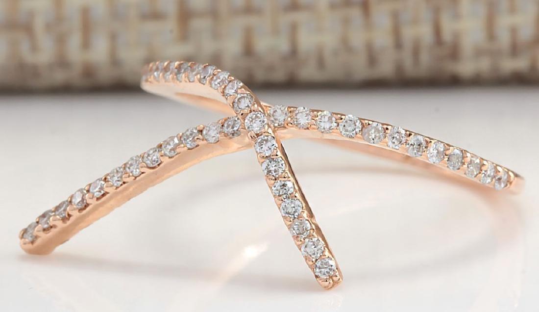 .25Carat Natural Diamond Ring 18K Solid Rose Gold - 2