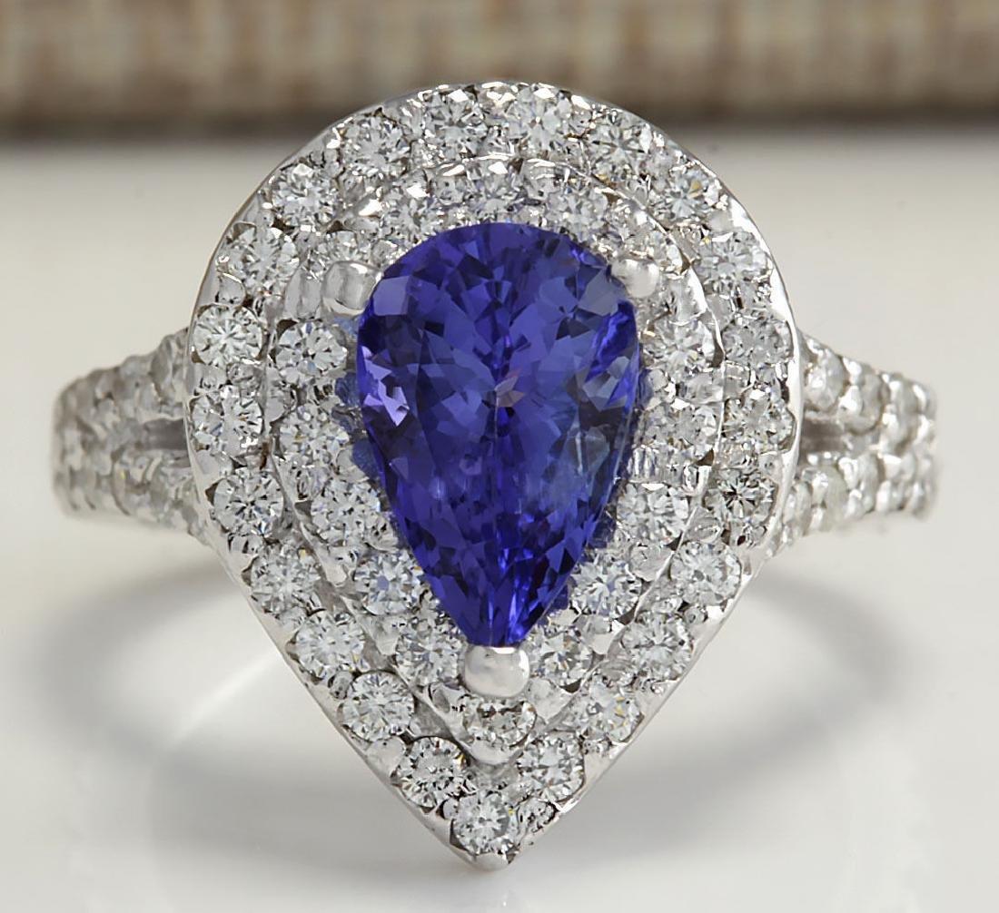 3.53Carat Natural Tanzanite Diamond Ring 18K Solid