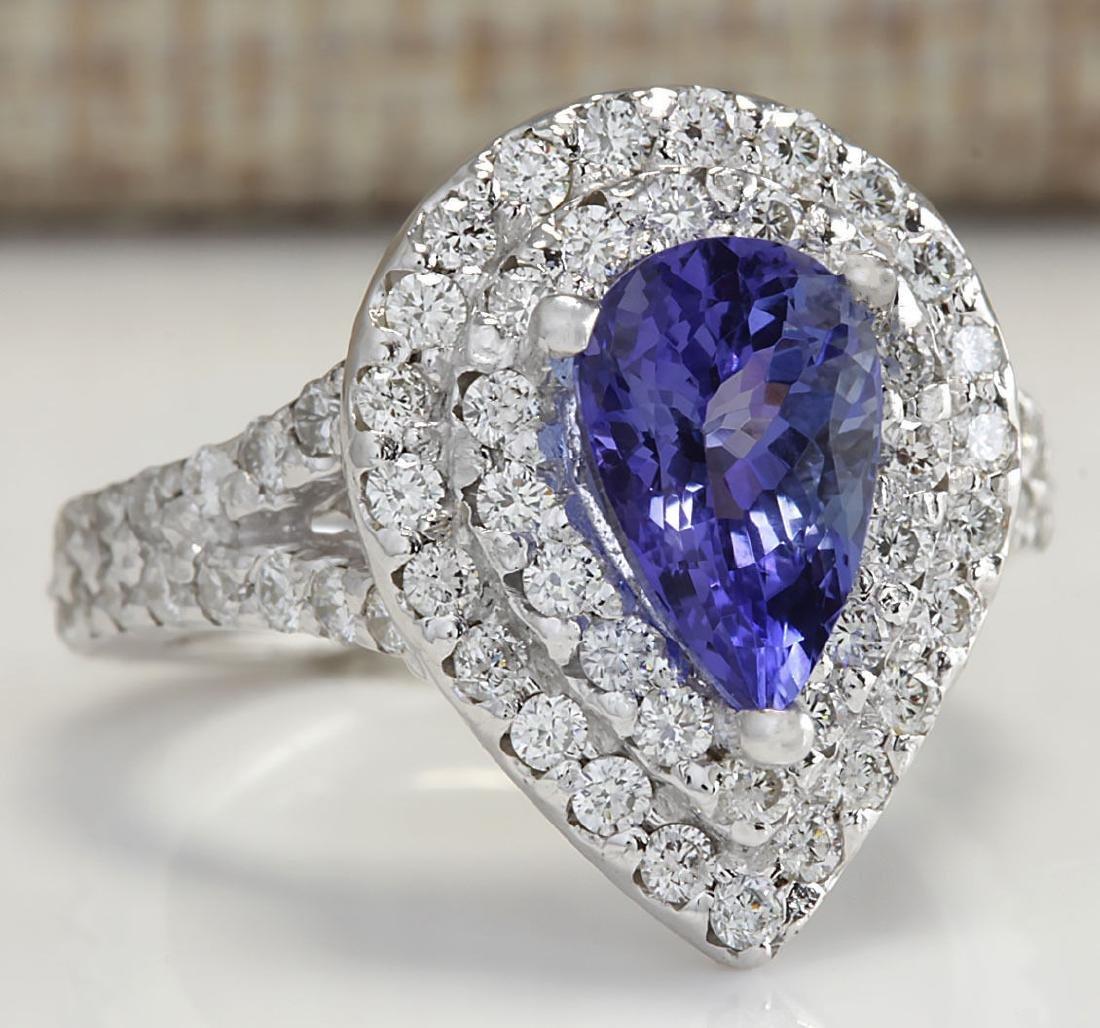 3.53Carat Natural Tanzanite Diamond Ring 18K Solid - 2