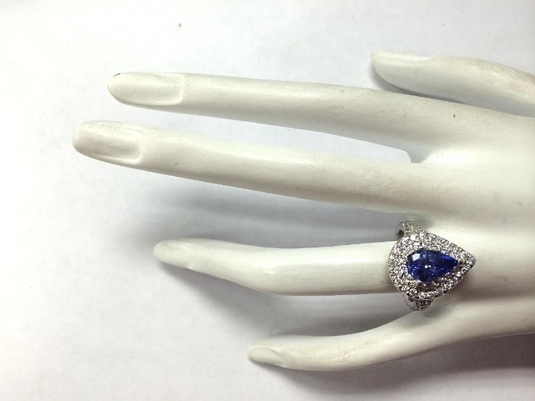 3.53Carat Natural Tanzanite Diamond Ring 18K Solid - 4