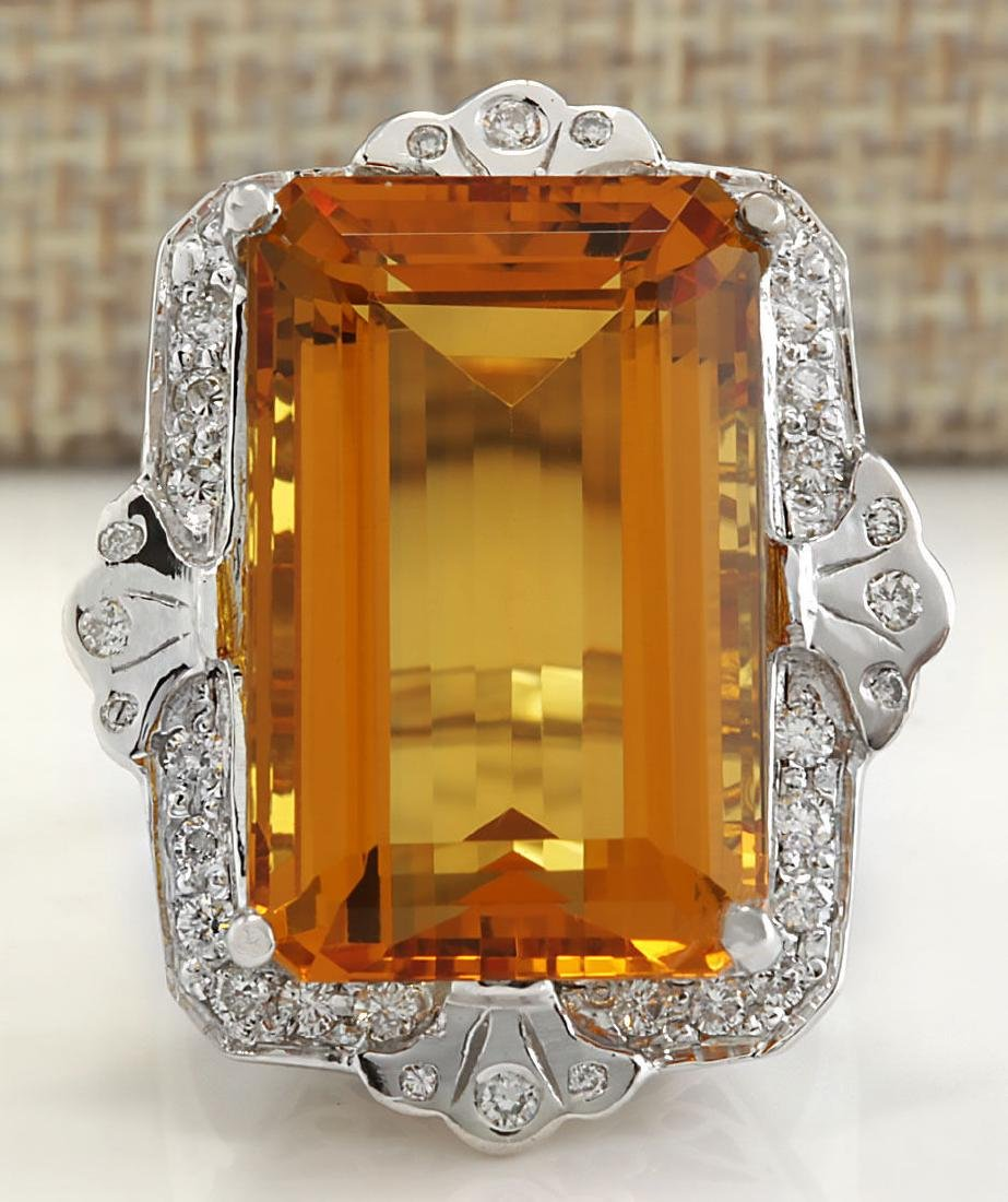 21.49Carat Natural Citrine And Diamond Ring 18K Solid