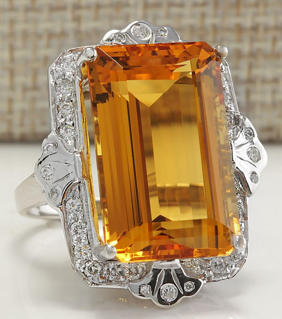 21.49Carat Natural Citrine And Diamond Ring 18K Solid - 2