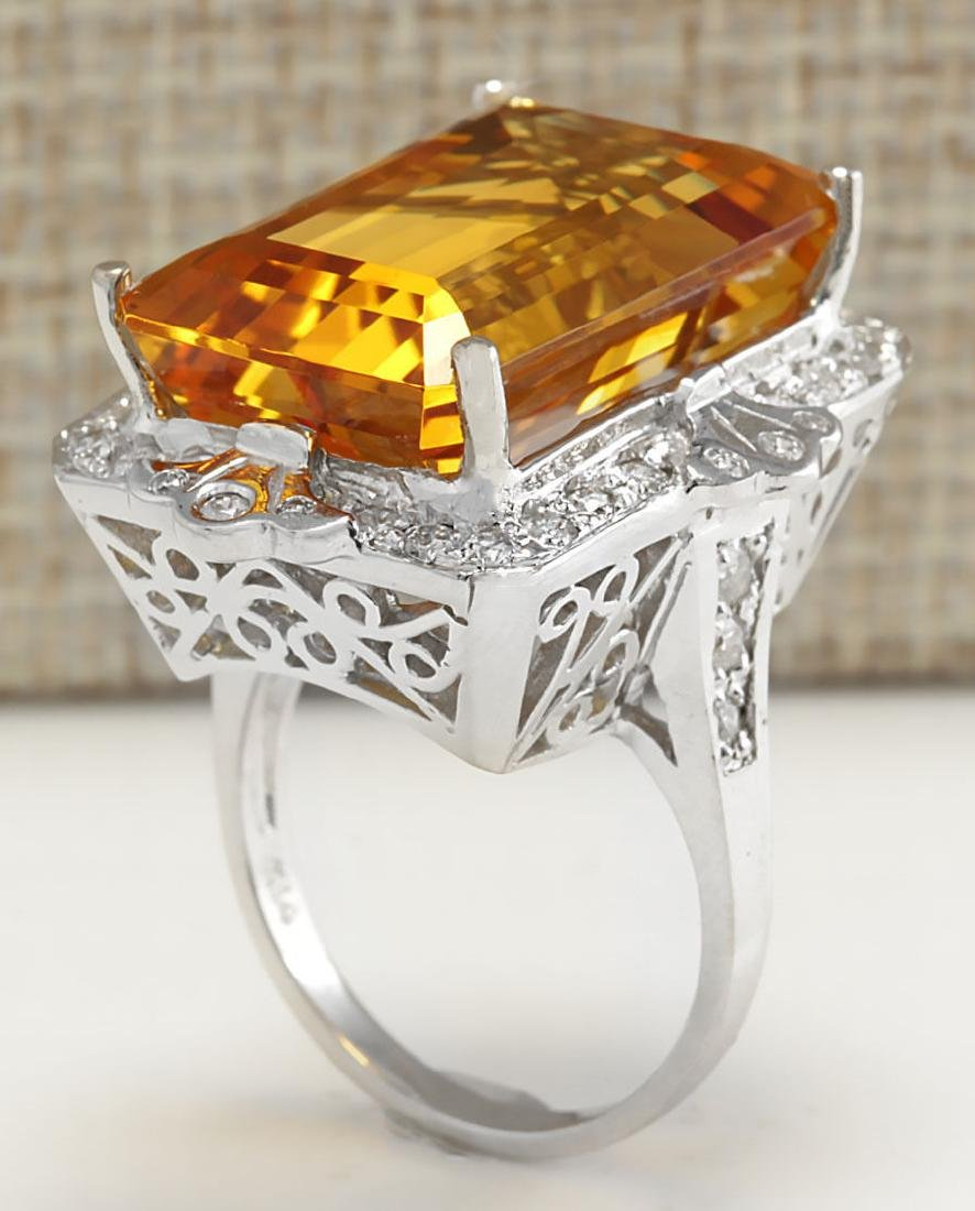 21.49Carat Natural Citrine And Diamond Ring 18K Solid - 3