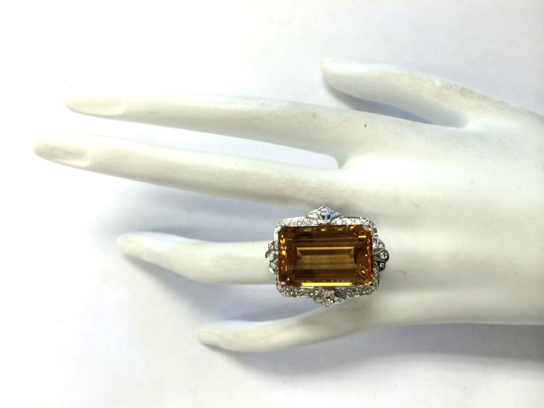 21.49Carat Natural Citrine And Diamond Ring 18K Solid - 4