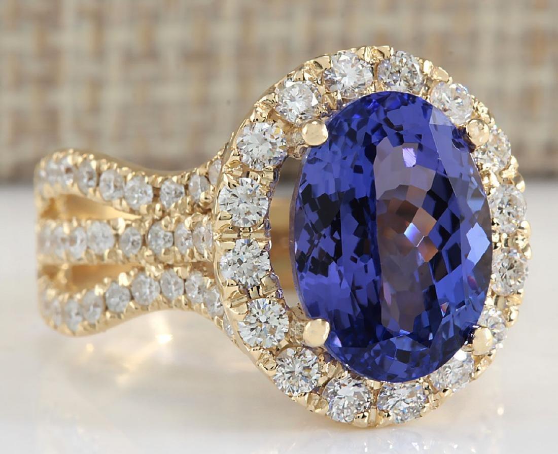 7.18 Carat Natural Tanzanite And Diamond Ring 18K Solid - 2