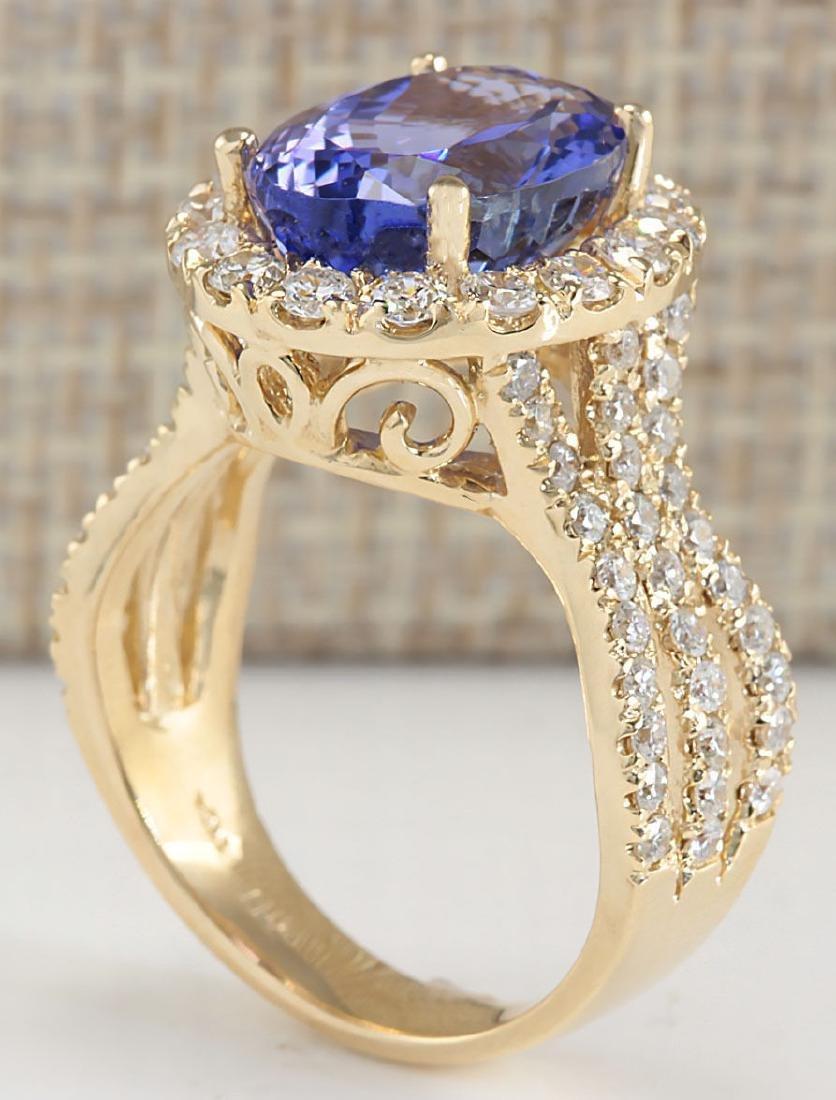 7.18 Carat Natural Tanzanite And Diamond Ring 18K Solid - 3