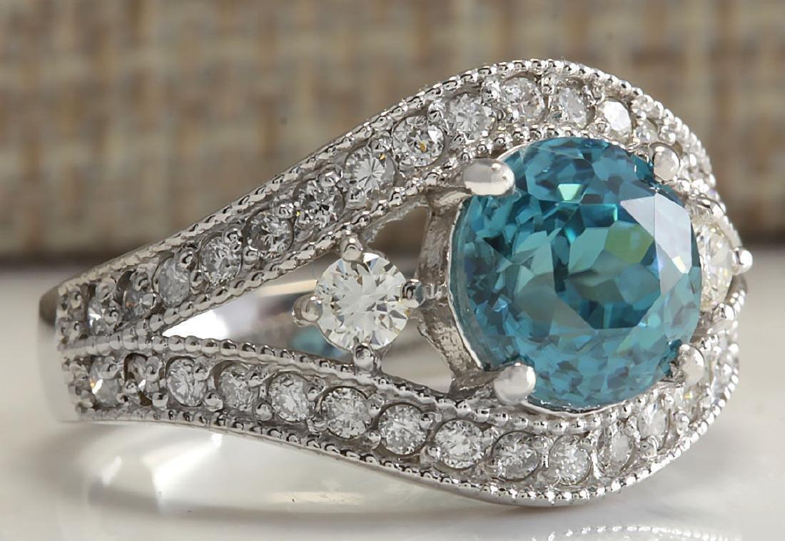 4.16Carat Natural Blue Zircon And Diamond Ring 18K - 2