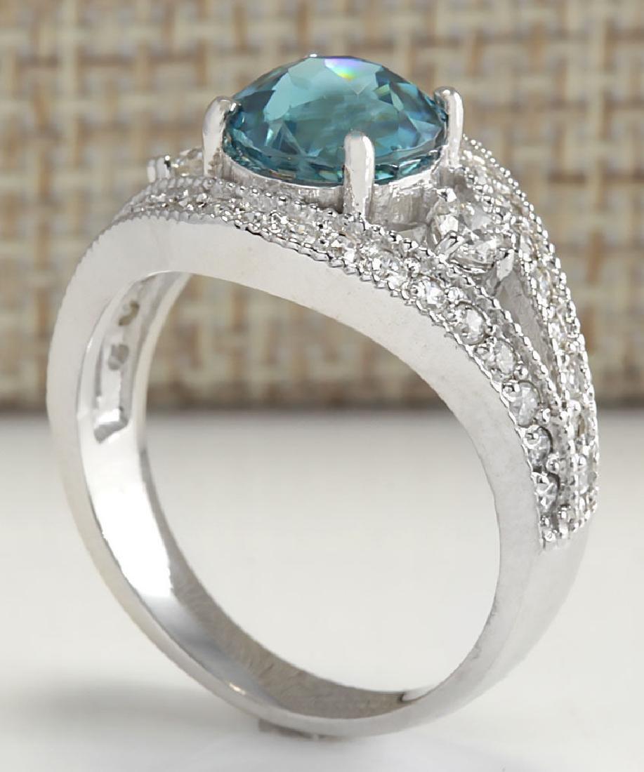 4.16Carat Natural Blue Zircon And Diamond Ring 18K - 3