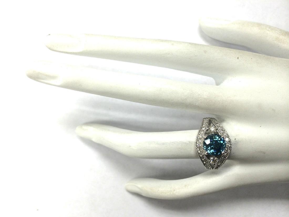 4.16Carat Natural Blue Zircon And Diamond Ring 18K - 4