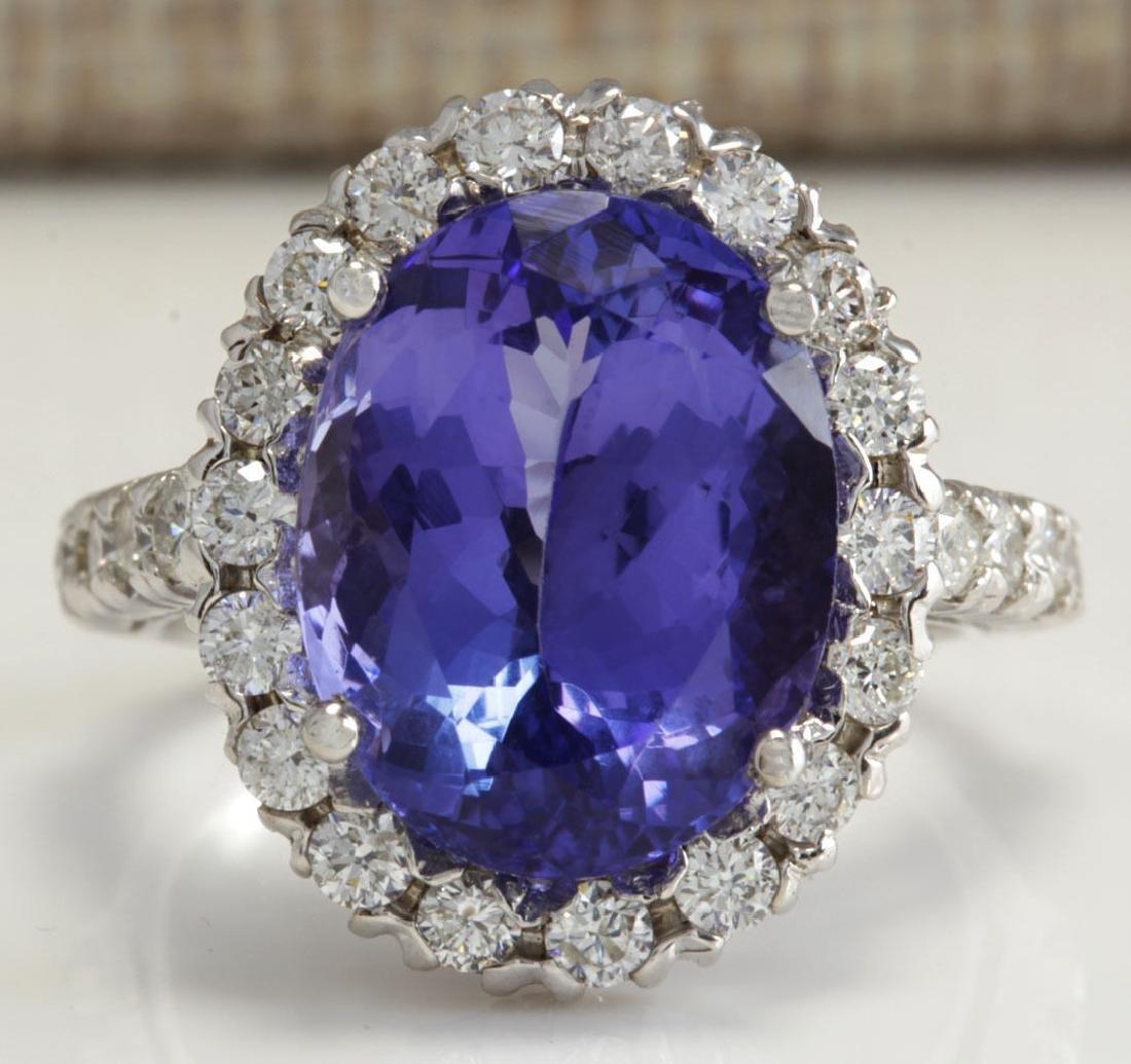 9.39 Carat Natural Tanzanite And Diamond Ring 18K Solid