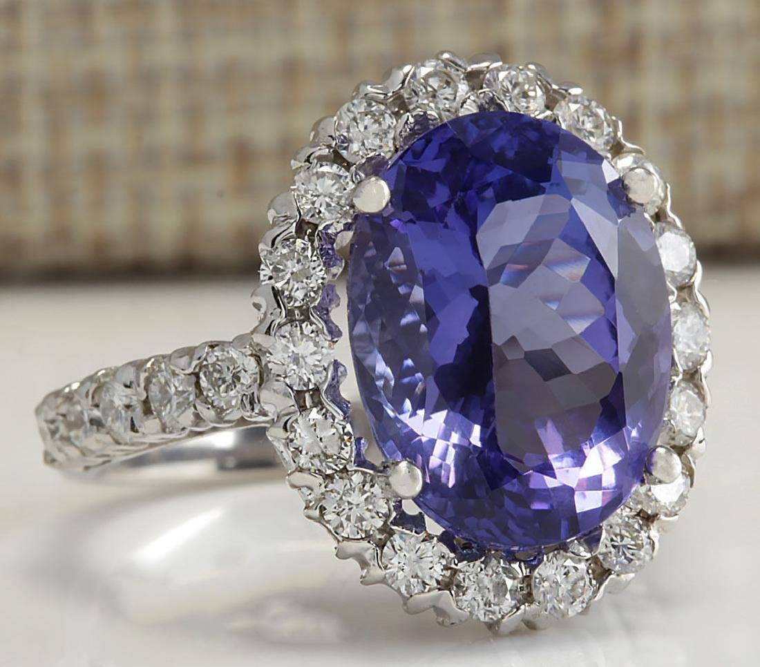 9.39 Carat Natural Tanzanite And Diamond Ring 18K Solid - 2