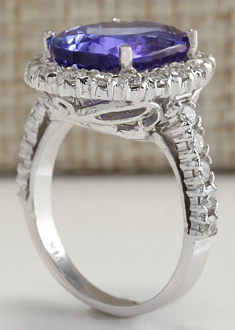 9.39 Carat Natural Tanzanite And Diamond Ring 18K Solid - 4